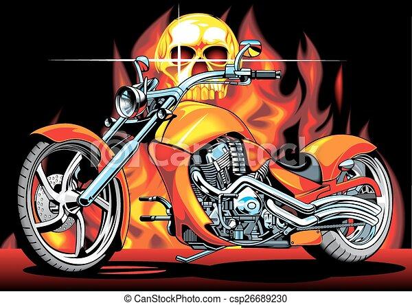 motorbike and human skull  - csp26689230