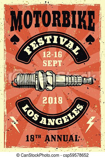 Motorbike festival vector colored vintage poster - csp59578652