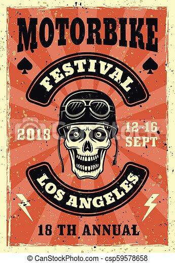 Motorbike festival vector colored vintage poster - csp59578658