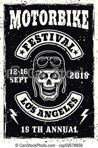 Motorbike festival vintage invitation poster - csp59578656