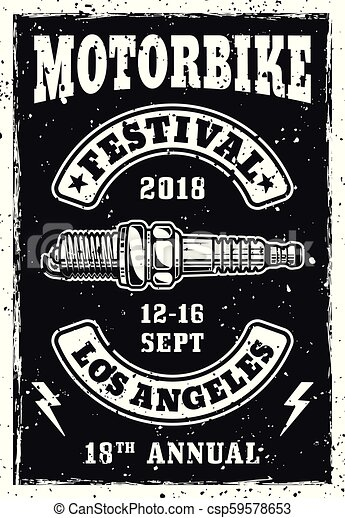 Motorbike festival vintage poster with spark plug - csp59578653
