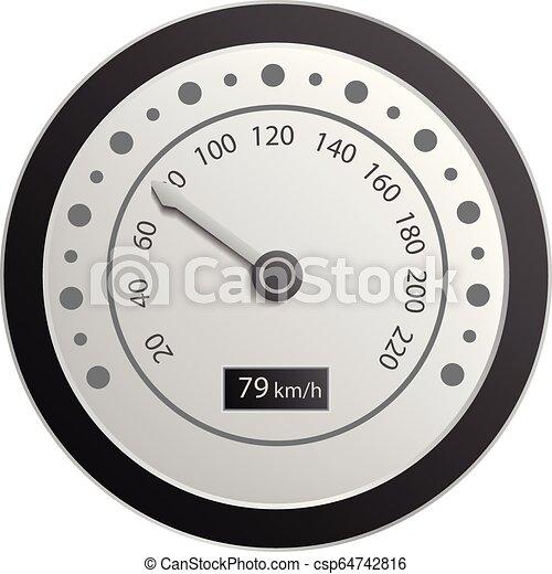 Motorbike speedometer icon, realistic style