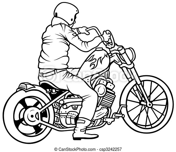 Motorcycle And Driver Hand Drawn Illustration