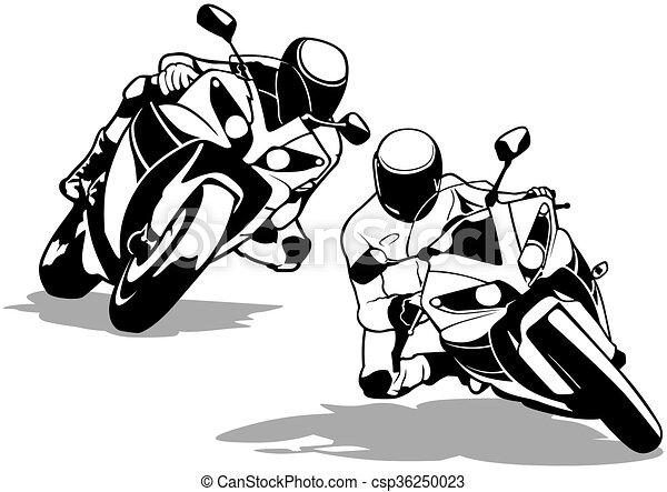 motorbike outline clipart  Motorcycle biker set - black and white outline illustrations, vector.
