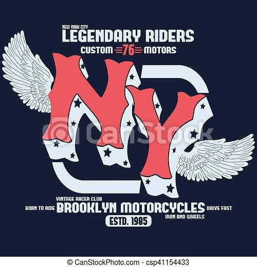 Motorcycle brooklyn t-shirt print vector. Motorcycle brooklyn t ... b5af8e7ce08