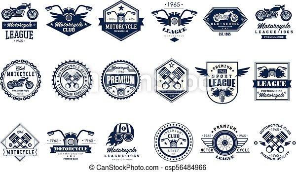 motorcycle club logo template set sport league retro vintage style