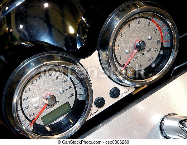 Motorcycle details speedometer closeup