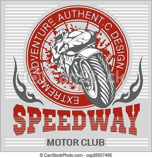 Motorcycle - extreme sport. Vector Emblem. - csp26507495