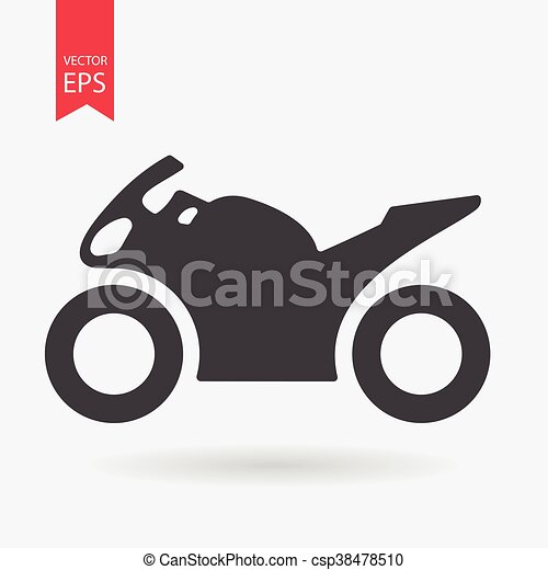 Motorcycle Icon. Sportbike sign isolated on white background. Flat design style. Vector illustration. - csp38478510