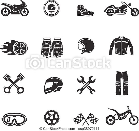 Motorcycle icons black set with transportation symbols isolated vector - csp38972111