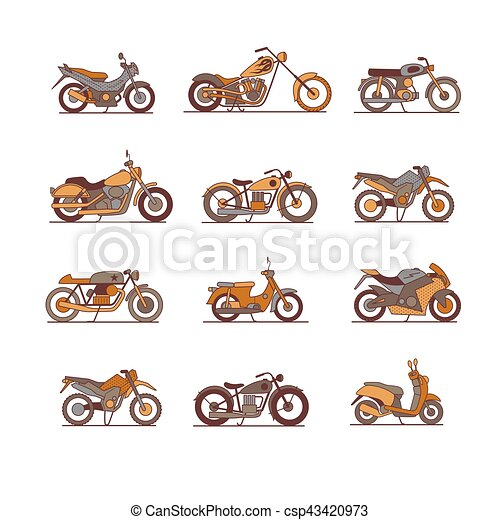 Motorcycle Icons Set Super Graphic Style Vector Illustrations Of Different Type Motorcycles