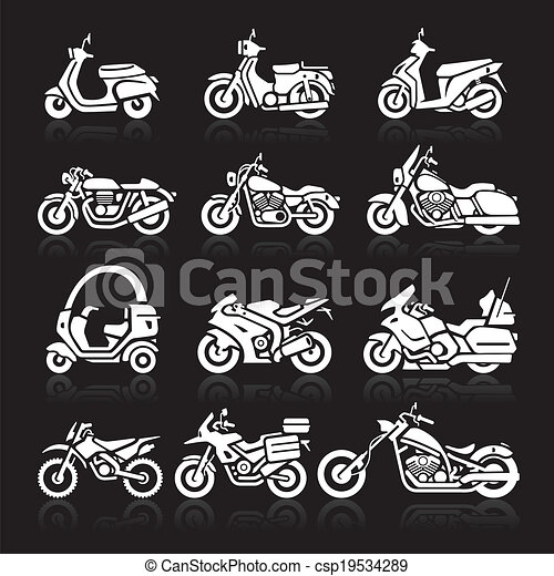 Motorcycle Icons set. Vector - csp19534289