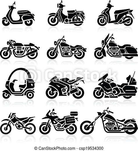 Motorcycle Icons set. Vector - csp19534300