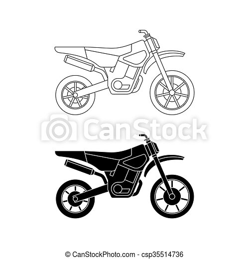 Motorcycle line icons. - csp35514736