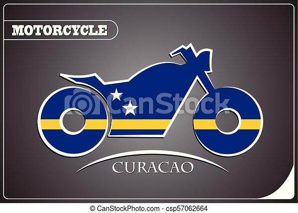 motorcycle logo made from the flag of Curacao - csp57062664
