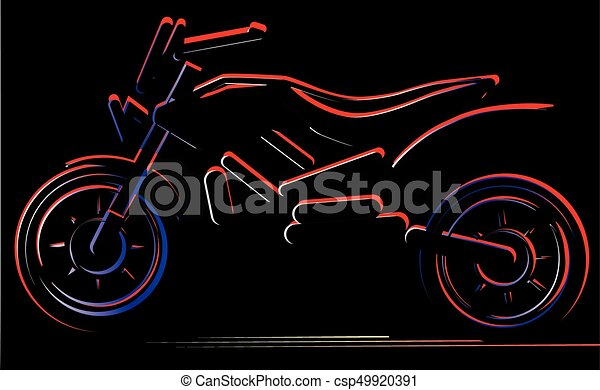 Motorcycle on black background, moto illustration - csp49920391