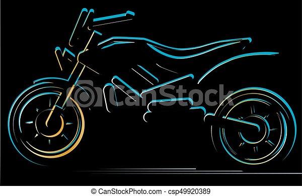 Motorcycle on black background, moto illustration - csp49920389