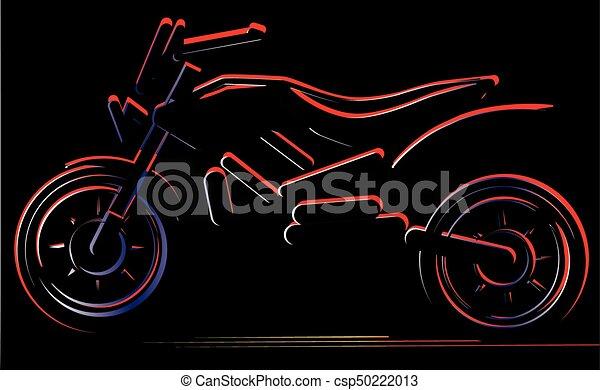 Motorcycle on black background, moto illustration - csp50222013