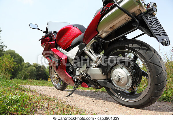motorcycle on country road, bottom view - csp3901339