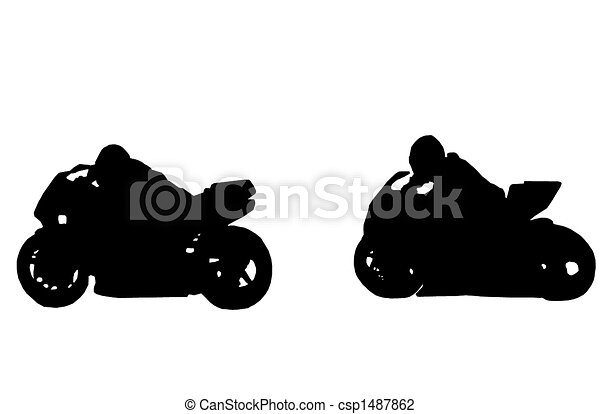 Motorcycle Racing Silhouette Of Two Racing Motorcycles On White