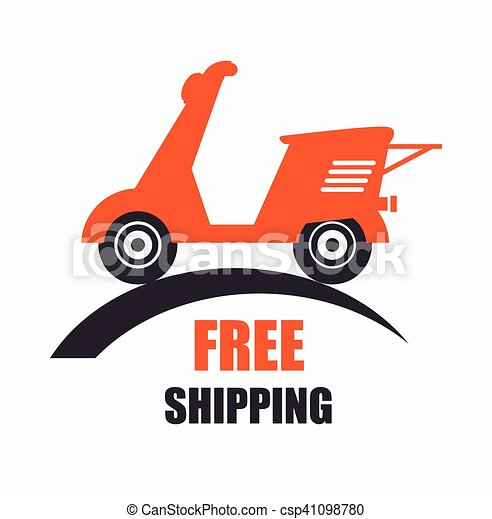 motorcycle scooter free delivery icon vector illustration vector rh canstockphoto com free shopping clipart free shipping clip art images