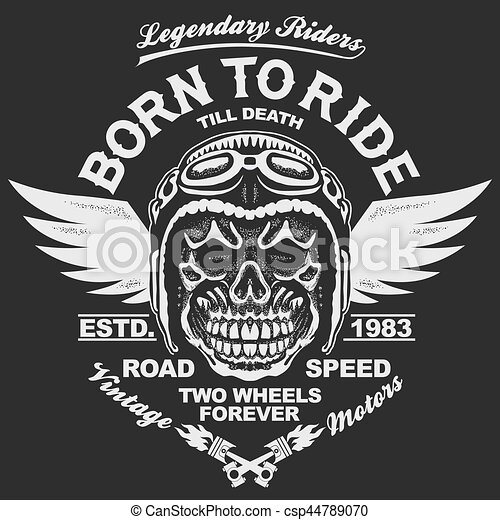 ea93c017 Motorcycle t-shirt graphics. skull rider in helmet with wings. born ...