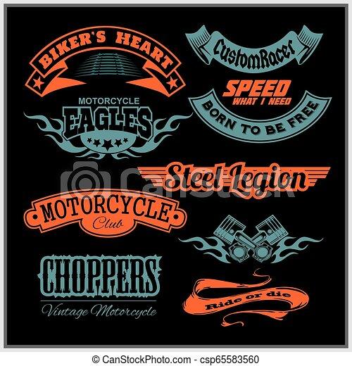 Motorcycle vector set with vintage custom logos, badges, design templates. - csp65583560