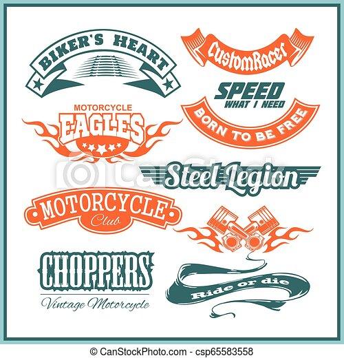 Motorcycle vector set with vintage custom logos, badges, design templates. - csp65583558