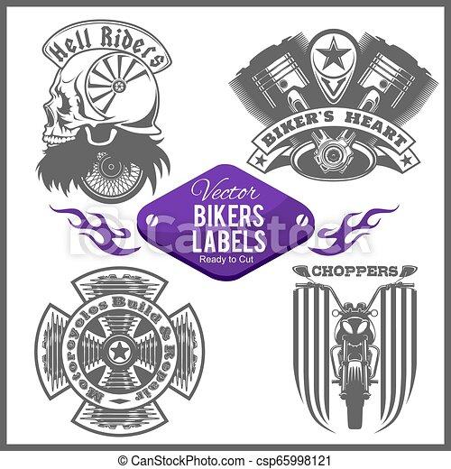 Motorcycle vector set with vintage custom logos, badges, design templates. - csp65998121