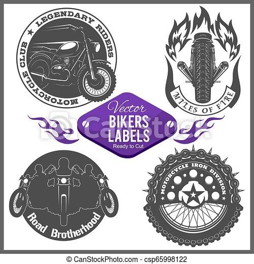 Motorcycle vector set with vintage custom logos, badges, design templates. - csp65998122