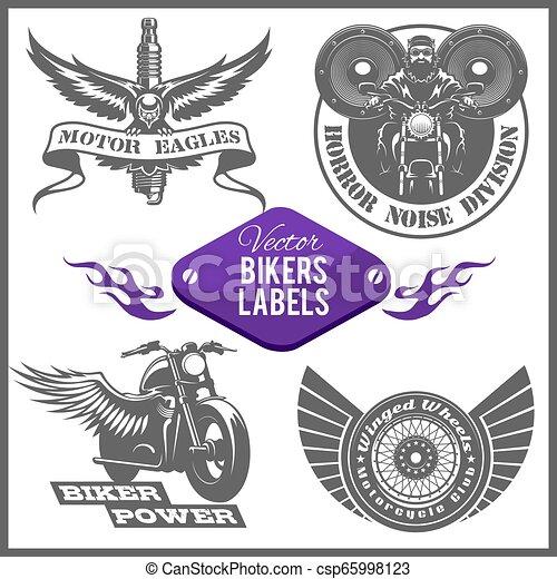Motorcycle vector set with vintage custom logos, badges, design templates. - csp65998123