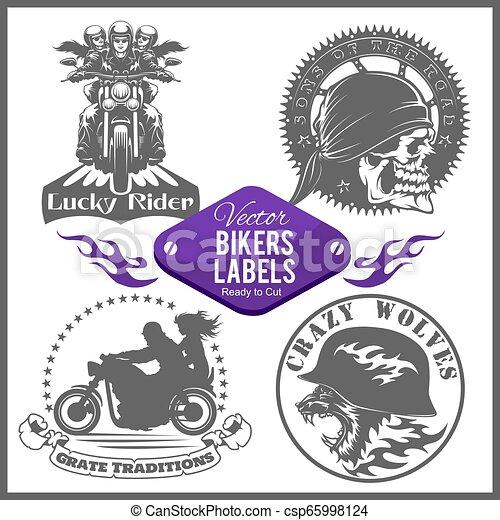 Motorcycle vector set with vintage custom logos, badges, design templates. - csp65998124