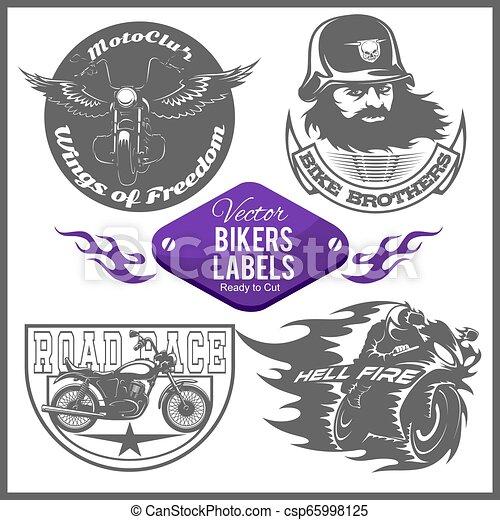 Motorcycle vector set with vintage custom logos, badges, design templates. - csp65998125