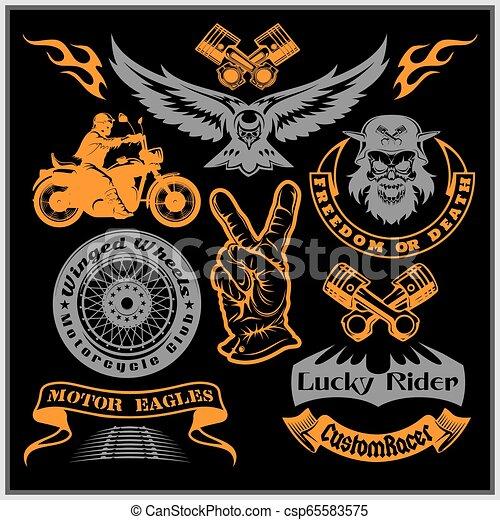 Motorcycle vector set with vintage custom logos, badges, design templates. - csp65583575