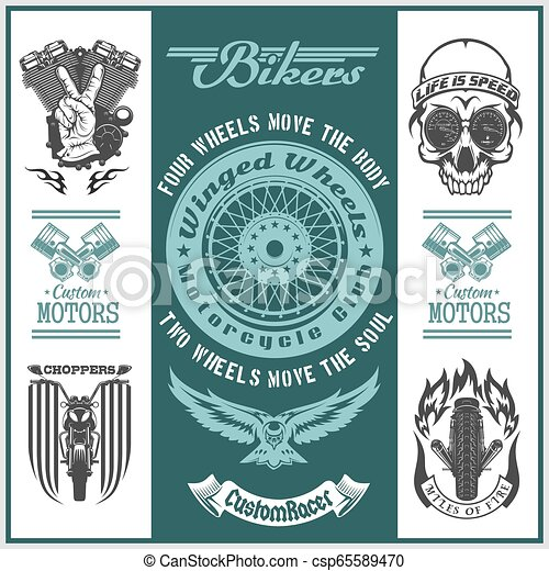 Motorcycle vector set with vintage custom logos, badges, bikers design elements. - csp65589470