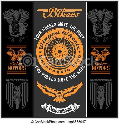 Motorcycle vector set with vintage custom logos, badges, bikers design elements. - csp65589471