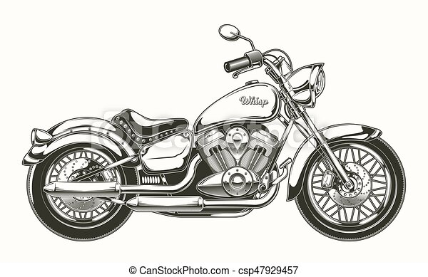 motorcycle., vendemmia, hand-drawn, chopper., classico - csp47929457
