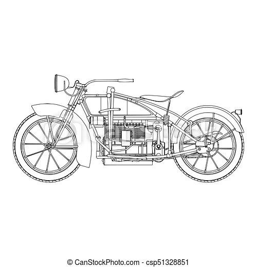 Motorcycle vintage vector motorbike illustration motor design retro bike - csp51328851