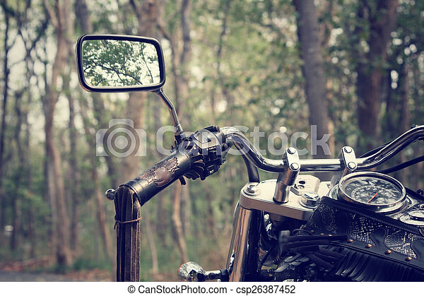 Motorcycle with forest - csp26387452