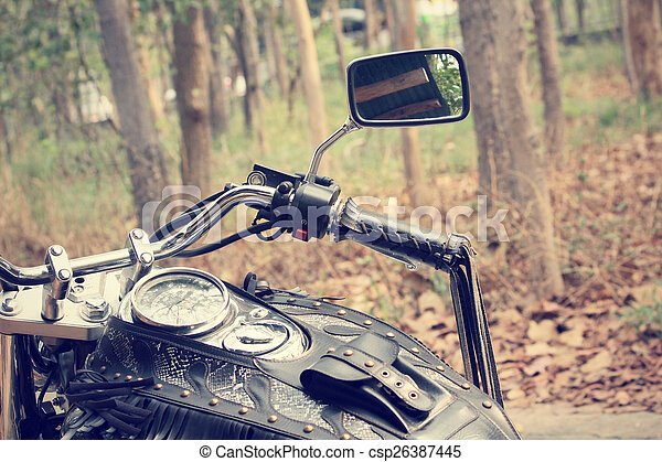 Motorcycle with forest - csp26387445