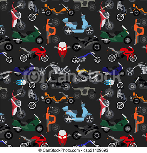 Motorcycles background, pattern - csp21429693