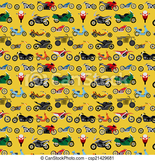 Motorcycles background, pattern - csp21429681