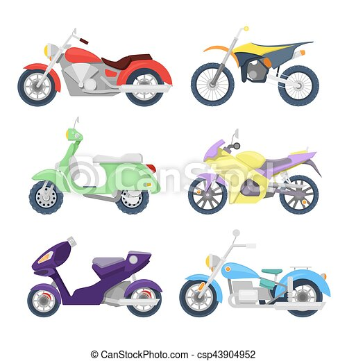 Motorcycles Icons Set with Retro, Sport Bike and Scooter. Vector illustration - csp43904952