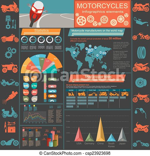 Motorcycles infographic elements - csp23923698