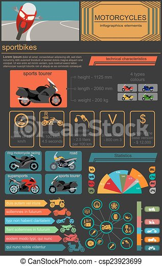Motorcycles infographic elements - csp23923699