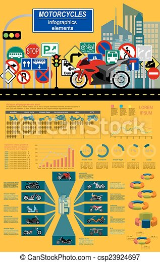 Motorcycles infographic elements - csp23924697