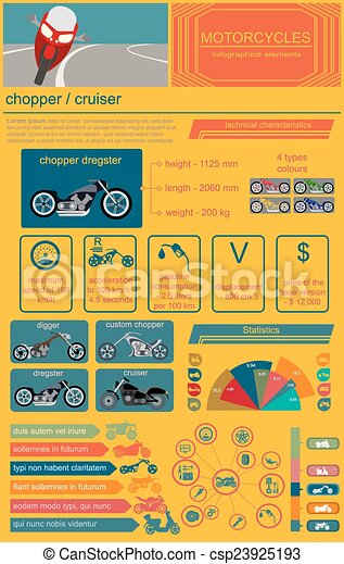 Motorcycles infographic elements - csp23925193