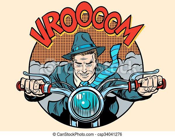 Motorcyclist rider biker man - csp34041276