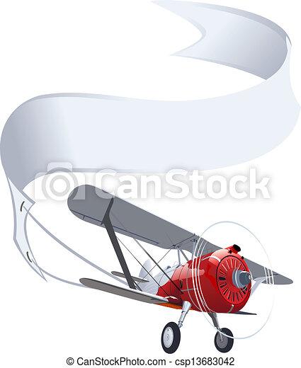 Retro-flugzeug mit banner. verfügbarer eps-8-vektorformat ...