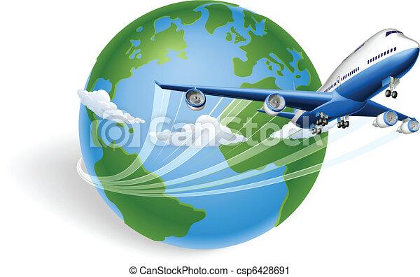 motorflugzeug, begriff, erdball - csp6428691